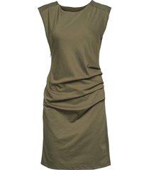 india round-neck dress knälång klänning grön kaffe