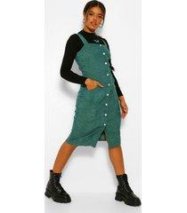 corduroy midi jurk met knopen, emerald