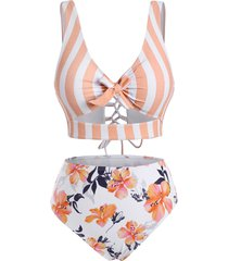 striped floral cutout lace-up tankini swimwear