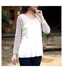 lace-trimmed rayon blouse, 'daisy snow' (india)