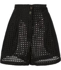 fleur du mal sheer high-waisted shorts - black