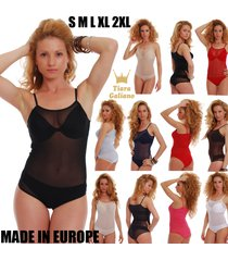 mesh women bodysuit thin strap see through vest bikini 324 leotard body tulle eu