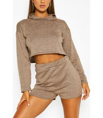 soft melange hoodie & short lounge set, stone