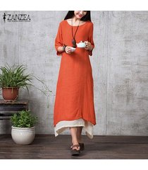 zanzea mujeres de manga larga asimétrica de doble capa vestir la camisa del partido del vestido étnico plus -naranja