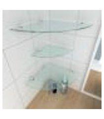 kit com 3 prateleiras para canto de vidro temperado para banheiro 2 de 30 cm e 1 de 20 cm