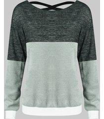 color block criss cross sweatshirt