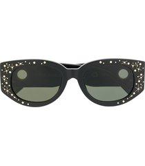 linda farrow star print oval sunglasses - black