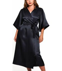 women's plus size luxury long robe with kimono style sleeves