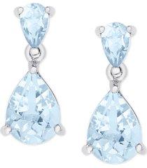 aqua topaz pear teardrop drop earrings (4-1/2 ct. t.w.) in sterling silver