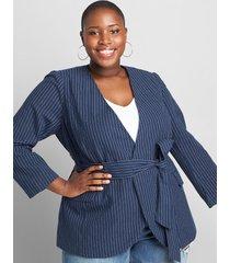 lane bryant women's striped wrap blazer with belt 20 pinstripe