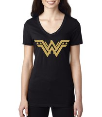 wonder woman stylish gold logo v-neck glitter fashion black t shirt, size s-2xl