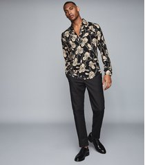 reiss brave - floral printed shirt in black, mens, size xxl