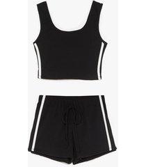 womens side stripe crop and hotpant set - black