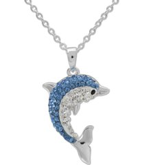 "giani bernini crystal dolphin 18"" pendant necklace in sterling silver, created for macy's"