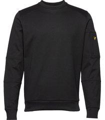 sleeve pocket crew neck sweatshirt sweat-shirt trui zwart lyle & scott