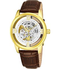 stuhrling original men's dress skeletonized automatic watch, gold tone case on brown alligator embossed genuine leather strap, silver tone skeletonized dial with gold tone accents