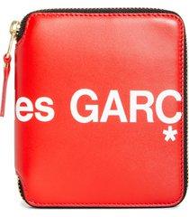 comme des garcons huge logo zip around wallet - red