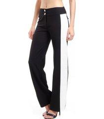 calça 101 resort wear flare pantalona bicolor alfaiataria com elastano preto