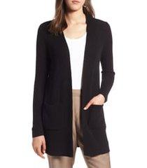 women's halogen long ribbed cardigan, size xx-large - black
