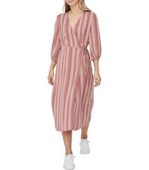 women's vero moda juna stripe wrap midi dress, size x-small - red