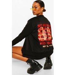 new york city back print slogan bomber jacket, black