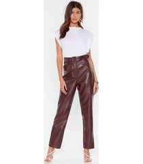 faux leather gonna let you down belted pants