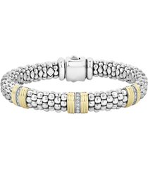 women's lagos fluted & diamond station bracelet