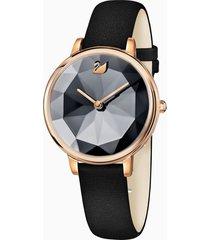 orologio crystal lake, cinturino in pelle, nero, pvd oro rosa