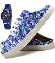 tãªnis mule sapatãªnis casual fashion com relã³gio sky feminino dubuy 313el azul - azul - feminino - sintã©tico - dafiti