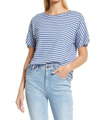 caslon(r) tie sleeve t-shirt, size xx-large in blue moonlight- white stripe at nordstrom