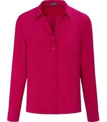 blouse met lange mouwen en studs op de kraag van basler roze