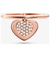 mk anello con cuore in argento sterling con placcatura in metallo prezioso e pavé - oro rosa (oro rosa) - michael kors