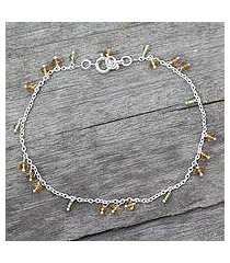 citrine and peridot anklet, 'kerala dancer' (india)