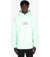 bonsai mint green cotton hoodie with logo emrboidery