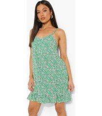petite bloemenpatroon swing jurk met geplooide zoom, green