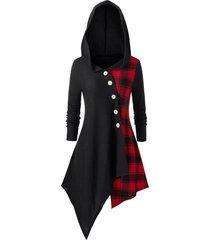 plus size mock buttons plaid asymmetrical coat