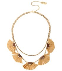 jessica simpson women's fanned raffia frontal necklace