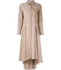 brunello cucinelli striped patchwork dress - brown