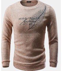 maglione girocollo in cotone da uomo con collo rotondo e maniche in piume decorative