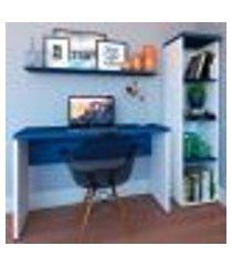 conjunto de mesa com estante e prateleira de escritório corp branco e azul
