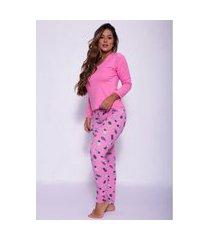 pijama longo em camurça estampado rosa claro g08-5 rosa claro m