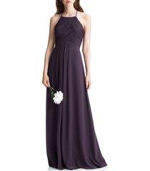women's #levkoff halter chiffon a-line gown, size 10 - purple