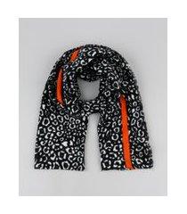 lenço feminino estampado animal print onça preto