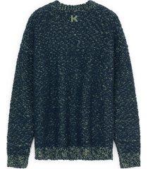 men's kenzo slub knit wool blend sweater, size medium - blue