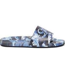barocco print slide sandals lapis blue