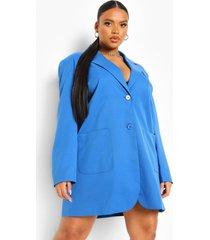 plus oversized blazer jurk, blue