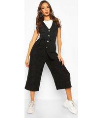 cord button front culotte pinafore jumpsuit, black