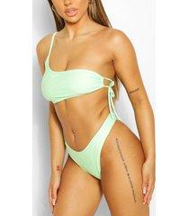 mix & match one shoulder tie side bikini top, green