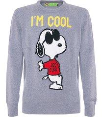 mc2 saint barth man grey rock snoopy sweater - peanuts special edition