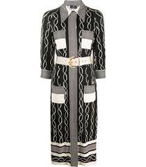 elisabetta franchi mixed-print midi shirt dress - black
